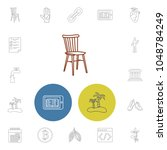 pack icons set with chair ...