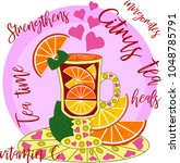 citrus tea  cooked with love.... | Shutterstock .eps vector #1048785791
