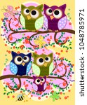 happy family of owls on... | Shutterstock .eps vector #1048785971