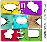comic book page background with ... | Shutterstock .eps vector #1048799069