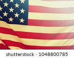 usa flag. american flag blowing ... | Shutterstock . vector #1048800785
