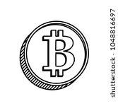 contour coin bitcoin   vector... | Shutterstock .eps vector #1048816697