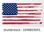 illustration wavy american flag ... | Shutterstock .eps vector #1048823051