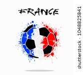 abstract soccer ball painted in ... | Shutterstock .eps vector #1048825841