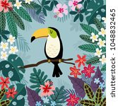 summer tropical background.... | Shutterstock .eps vector #1048832465