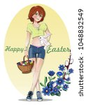 easter card with a cute girl ... | Shutterstock .eps vector #1048832549