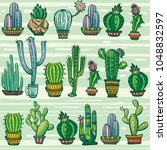seamless pattern with cute... | Shutterstock .eps vector #1048832597