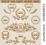 set of golden monograms with...