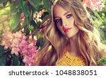 beautiful spring   girl   in... | Shutterstock . vector #1048838051