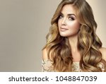 brunette  girl with long  and   ... | Shutterstock . vector #1048847039