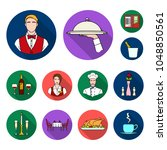 restaurant and bar flat icons... | Shutterstock .eps vector #1048850561