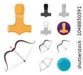 vikings and attributes cartoon... | Shutterstock .eps vector #1048850591