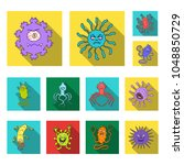 types of funny microbes flat... | Shutterstock .eps vector #1048850729