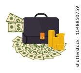 black briefcase. money bag icon ... | Shutterstock .eps vector #1048850759