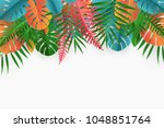 tropical paper palm  monstera... | Shutterstock .eps vector #1048851764