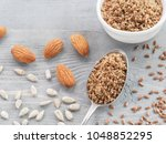 homemade lsa mix in spoon  ... | Shutterstock . vector #1048852295