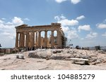 Small photo of ATHENS, GREECE - JUNE 26: Restoration of the Acropolis Parthenon Temple on June 26, 2011 in Athens, Greece. Its construction began in 447 BC in the Athenian Empire. It was completed in 438 BC.