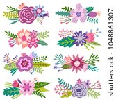 vector flowers and plants ... | Shutterstock .eps vector #1048861307