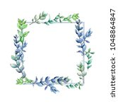 boxwood leaves  wreath in a... | Shutterstock . vector #1048864847