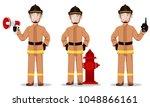 firefighter in professional...   Shutterstock .eps vector #1048866161