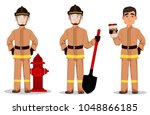 firefighter in professional... | Shutterstock .eps vector #1048866185