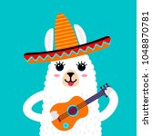a funny muzzle of the llama... | Shutterstock .eps vector #1048870781