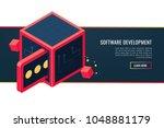 banner of custom software... | Shutterstock .eps vector #1048881179