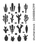 vector cactus silhouettes with... | Shutterstock .eps vector #1048884299