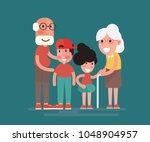 grandparents with grandchildren.... | Shutterstock .eps vector #1048904957