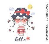 little girl with sunglasses...   Shutterstock .eps vector #1048906907