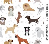 dog vector cute cartoon puppy... | Shutterstock .eps vector #1048911011