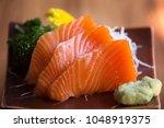 salmon sashimi.japanese food | Shutterstock . vector #1048919375