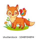 cute cartoon fox and rooster.... | Shutterstock .eps vector #1048934894