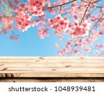 top of wood table empty ready... | Shutterstock . vector #1048939481