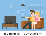 young couple watching... | Shutterstock .eps vector #1048939649