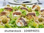 closeup of a plate with stuffed eggs - stock photo