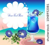 butterfly pea with lime juice... | Shutterstock .eps vector #1048952081