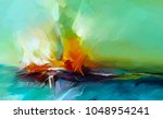 abstract colorful oil painting... | Shutterstock . vector #1048954241