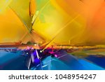 abstract colorful oil painting... | Shutterstock . vector #1048954247