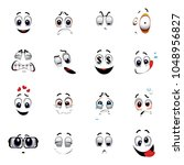 set of various face emoji icons.... | Shutterstock .eps vector #1048956827