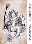 beautiful mermaid girl sitting... | Shutterstock .eps vector #1048957271