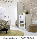 modern style wardrobe interior... | Shutterstock . vector #1048958861