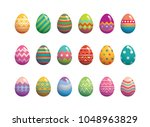 set of easter eggs flat design... | Shutterstock .eps vector #1048963829
