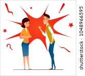 divorce. fight and argue. two... | Shutterstock .eps vector #1048966595