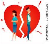 divorce. family conflict. break ... | Shutterstock .eps vector #1048966601