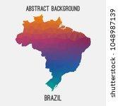 brazil map in geometric... | Shutterstock .eps vector #1048987139