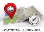 3d illustration of map paper... | Shutterstock . vector #1048996091