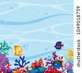 background scene with fish and... | Shutterstock .eps vector #1049018759