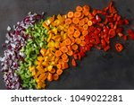top view chopped fresh... | Shutterstock . vector #1049022281