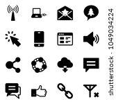 solid vector icon set   antenna ... | Shutterstock .eps vector #1049034224